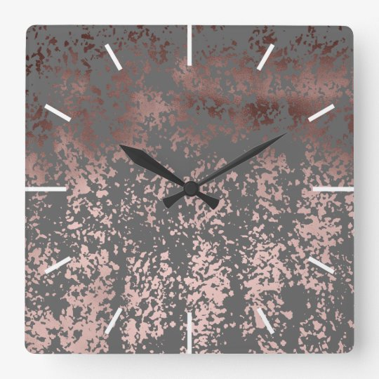 elegant faux rose gold and grey brushstrokes square