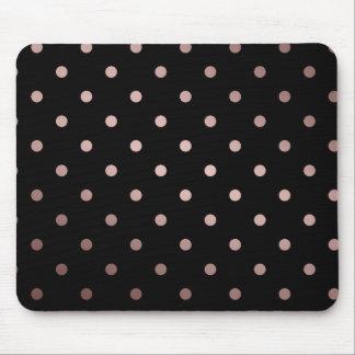 elegant faux rose gold black polka dots mouse mat