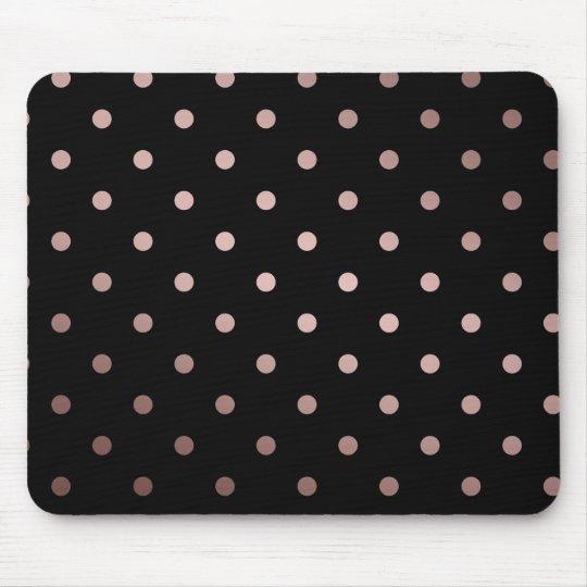 elegant faux rose gold black polka dots mouse