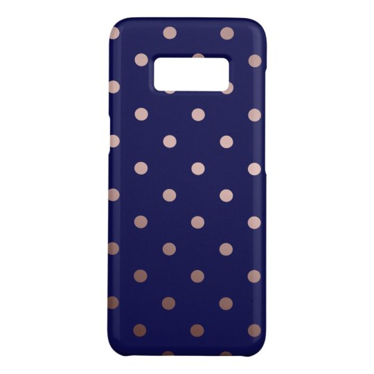 elegant faux rose gold blue polka dots Case-Mate samsung galaxy s8 case