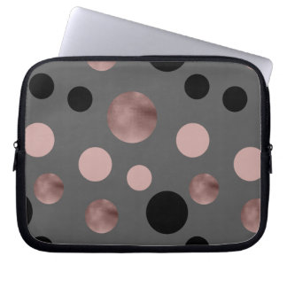 elegant faux rose gold blush pink black circles laptop sleeve