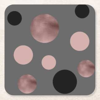 elegant faux rose gold blush pink black circles square paper coaster