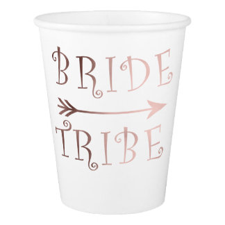 elegant faux rose gold bride tribe design paper cup