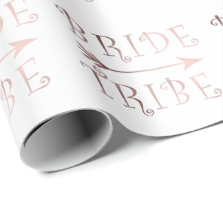 elegant faux rose gold bride tribe design wrapping paper
