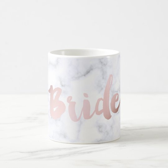"elegant faux rose gold ""bride"" white marble coffee"