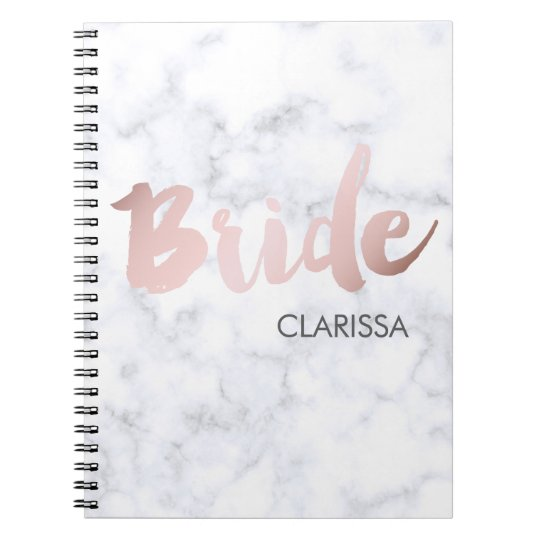 "elegant faux rose gold ""bride"" white marble notebooks"