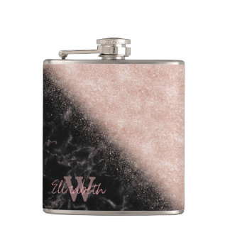 Elegant faux rose gold confetti black marble image hip flask