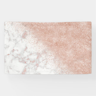 Elegant faux rose gold confetti white marble image banner
