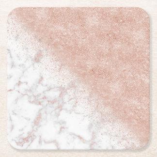 Elegant faux rose gold confetti white marble image square paper coaster