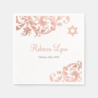 Elegant Faux Rose Gold Flourish Bat Mitzvah Disposable Serviette
