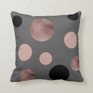 elegant faux rose gold foil pink black circles throw pillow