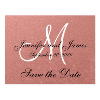 Elegant Faux Rose Gold Foil Save the Date Postcard
