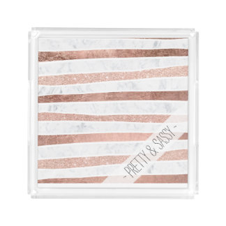 Elegant faux rose gold glitter foil marble stripes