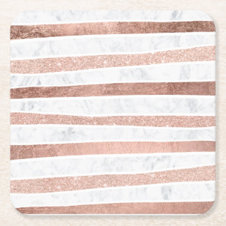 Elegant faux rose gold glitter foil marble stripes square paper coaster