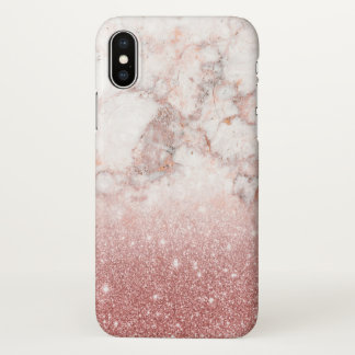 Elegant Faux Rose Gold Glitter White Marble Ombre iPhone X Case