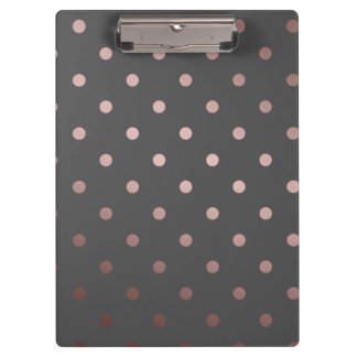elegant faux rose gold grey polka dots clipboard