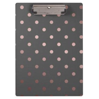 elegant faux rose gold grey polka dots clipboards