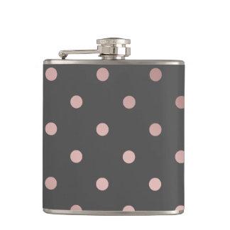 elegant faux rose gold grey polka dots hip flask
