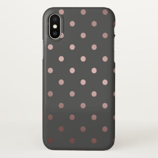 elegant faux rose gold grey polka dots iPhone x case