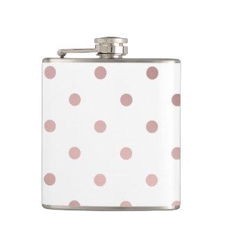 elegant faux rose gold polka dots hip flask
