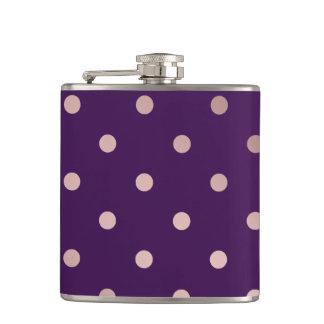 elegant faux rose gold purple polka dots flasks