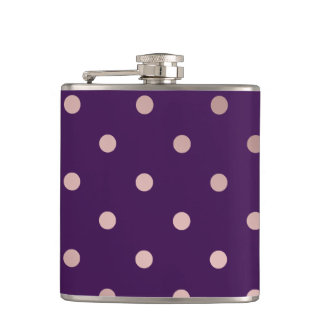 elegant faux rose gold purple polka dots hip flask