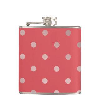 elegant faux rose gold red polka dots hip flask