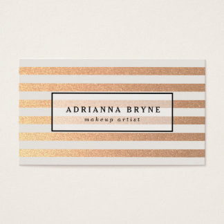 Elegant Faux Rose Gold Striped Pattern Salon Spa Business Card