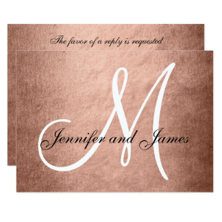 Elegant Faux Rose Gold Wedding RSVP Card Monogram