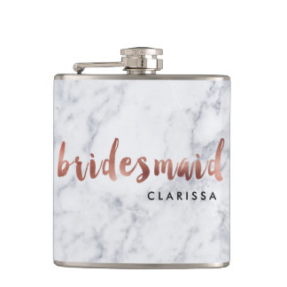 elegant faux rose gold white marble bridesmaid hip flask
