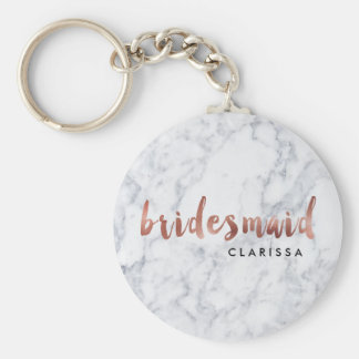 elegant faux rose gold white marble bridesmaid key ring