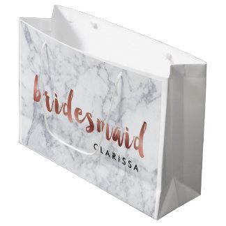 elegant faux rose gold white marble bridesmaid large gift bag