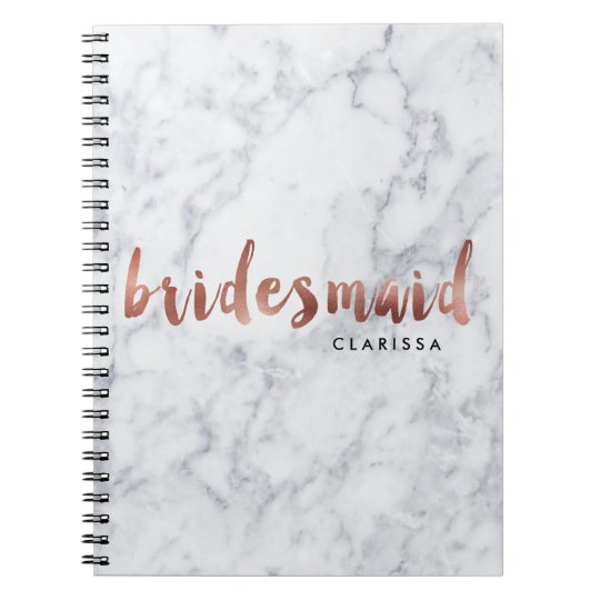 elegant faux rose gold white marble bridesmaid notebook
