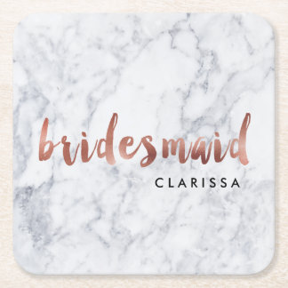 elegant faux rose gold white marble bridesmaid square paper coaster