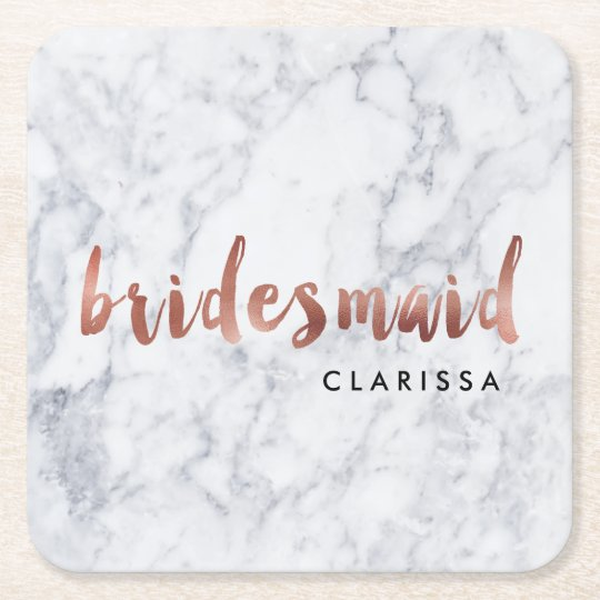 elegant faux rose gold white marble bridesmaid square