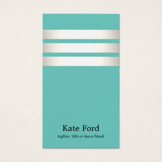 Elegant Faux Silver and Turquoise Striped Modern Business Card