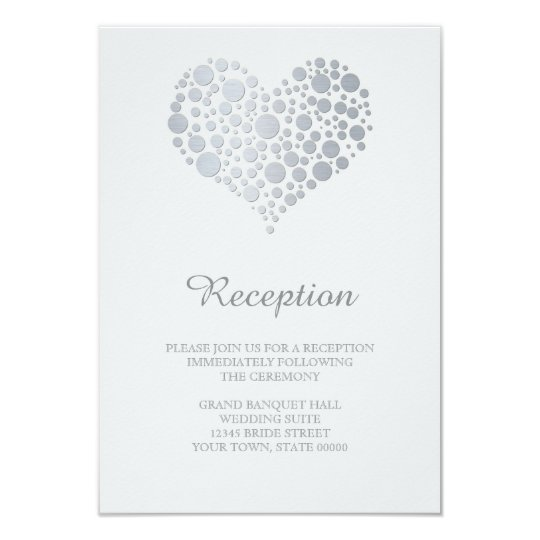 Elegant Faux Silver Foil Heart Reception Info Card