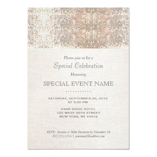 Elegant Faux Silver Sequins Beige Linen Look 13 Cm X 18 Cm Invitation Card