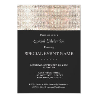 Elegant Faux Silver Sequins Black Party Card