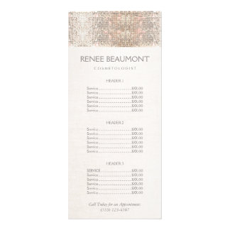 Elegant Faux Silver Sequins Salon Price List Menu Rack Card Template