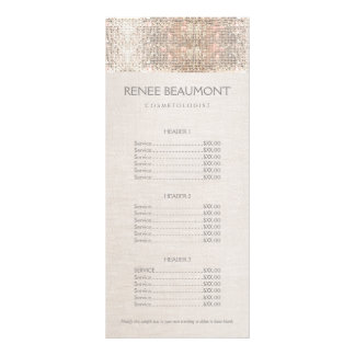 Elegant Faux Silver Sequins Salon Price List Menu Full Color Rack Card