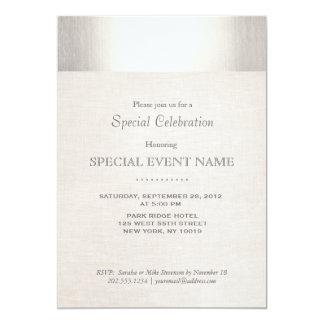 Elegant Faux Silver Striped Beige Linen Look 13 Cm X 18 Cm Invitation Card