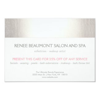 Elegant Faux Silver Striped Salon & Spa Referral 2 Card