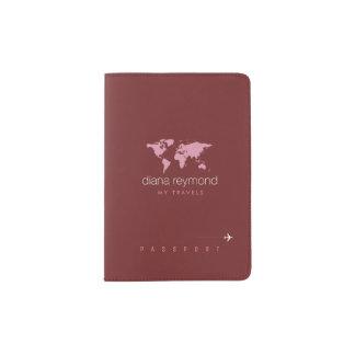 elegant feminine burgundy (dark red color) passport holder