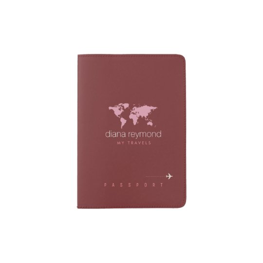 elegant feminine burgundy (dark red colour) passport holder