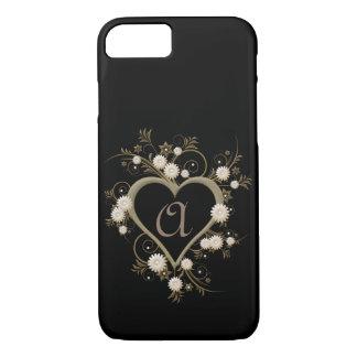 Elegant Feminine Dramatic Art Deco Heart Monogram iPhone 8/7 Case