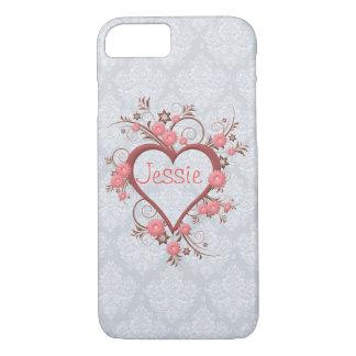 Elegant Feminine Pink Daisy and Openwork Heart iPhone 8/7 Case
