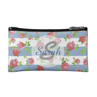Elegant Feminine Pink Roses on Blue & White Stripe Cosmetic Bag