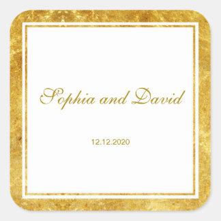Elegant Fern Leaves Gold Foil Wedding Custom Square Sticker