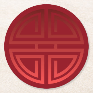 Elegant Festive Chic Red Chinese Longevity Motif Round Paper Coaster
